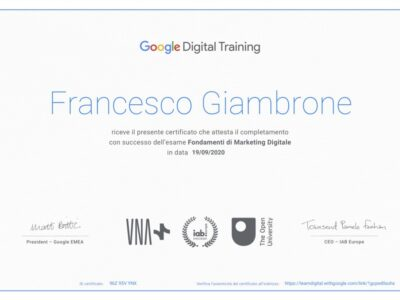 Certificazione Google Digital Training